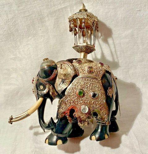 Vintage Ceylon Carved Ebony Wood Silver Jewel Encrusted Kandy Elephant