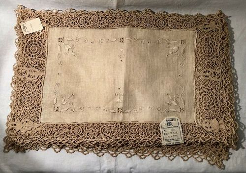 One Dozen Hand Made Lace & Linen Table Placemats New Old Stock