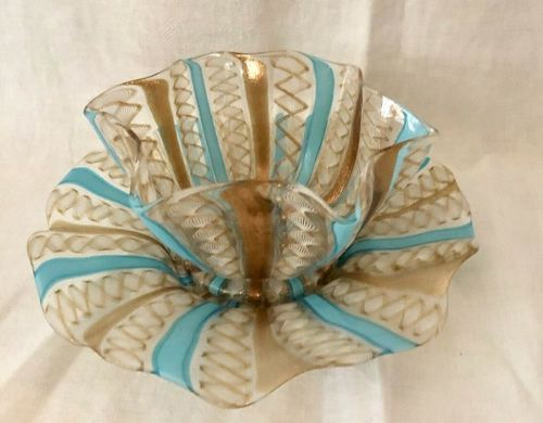 Antique Murano Ruffled Edge Latticino Bowl & Plate #6