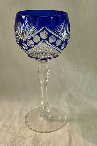 Antique Bohemian Cut Crystal Tall Stem Water/ Wine Goblet