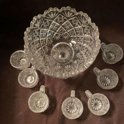Vintage Child's  Toy Pressed Glass Punch Bowl Set