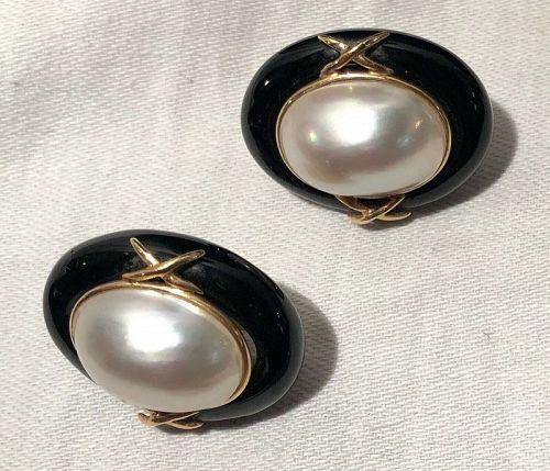 14K P Plum Gold, Black Onyx & Mabe Pearl Earrings