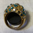Vintage Trifari Gold Dome Ring with Stones