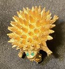 Small Vintage Goldtone Porcupine Pin Brooch Unsigned