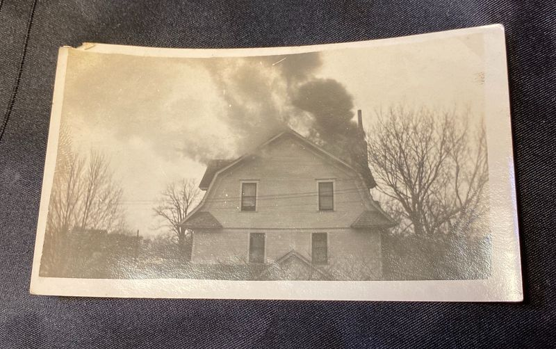 Early 20th Century Photograph Snapshot Praire House on Fire