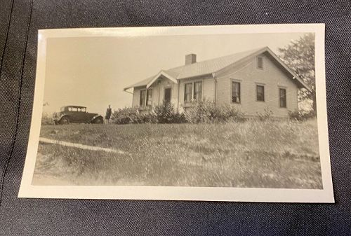 Vintage American House and Car Snapshot Circa 1930