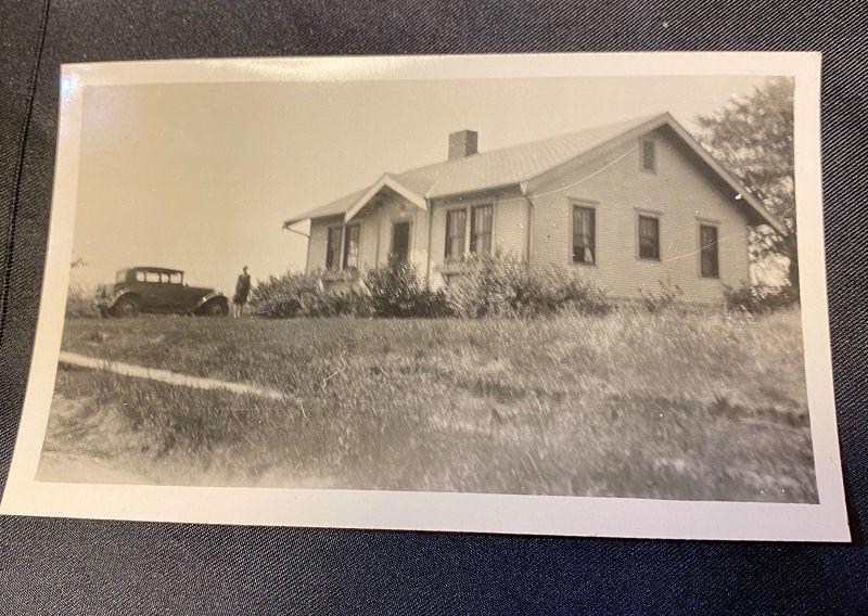 Vintage American House and Car Snapshot Circa 1930
