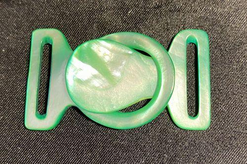 1920's  Iridescent Green Celluloid belt Buckle