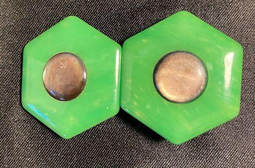 Green Art Deco  Celluloid Belt Buckle