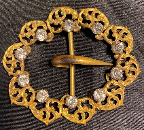 Art Nouveau Belt Buckle Gilt Metal & Rhinestones