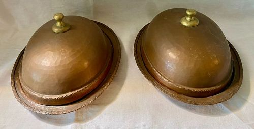 Pair Antique Arts & Crafts Hammered Copper Meat Dome Serving Dishes