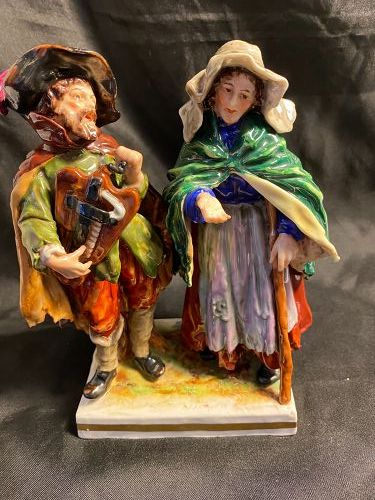 Antique Early Capodimonte Porcelain Musician & Beggar Woman Figurine