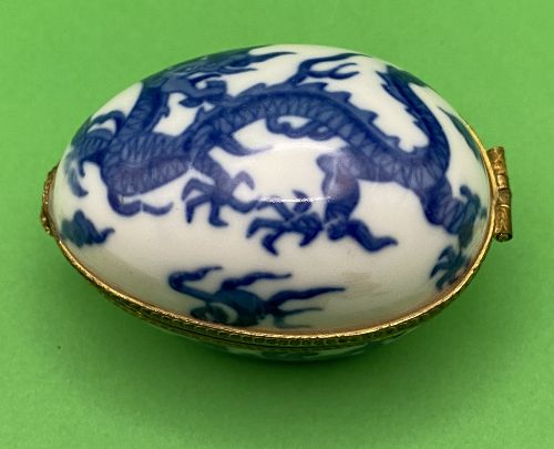 Neiman Marcus Blue & White Porcelain Egg Trinket Box