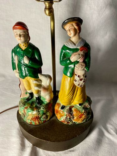Early  French/ Portuguese Palissy Style Figures Mounted as a Lamp