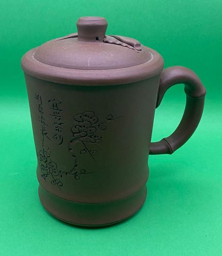 Handmade Signed Red Plum Clay Teapot with Infuser