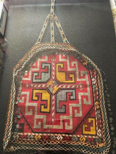 Framed Antique Silk & Wool Purse Bag Uzbekistan Lakai Tribe 1920's