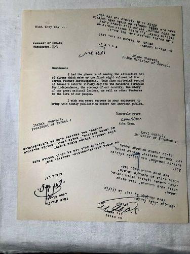 Judaica  Autograph Signed Letter Diplomat Abba Eban Israeli Embassy
