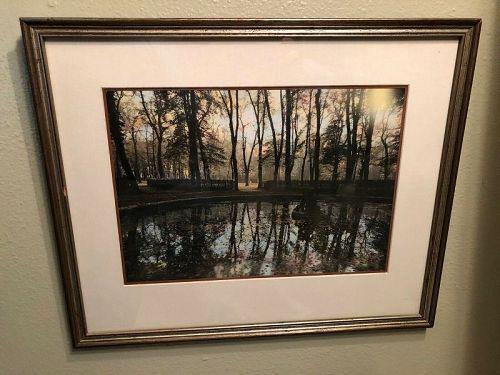 """Original Gail Skoff Hand Tinted Photograph """"Pond At Versailles"""""""