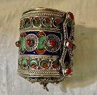 Antique Berber Moroccan Nickel Silver Hinged Bracelet & Box