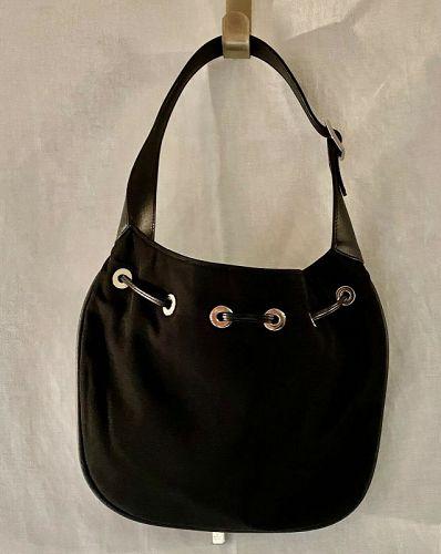 Vintage Black Nylon Gucci Hobo Bucket Bag 001-4034 2133