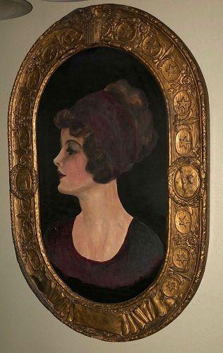 American Portrait Painting on Silk Flapper Deco Lady