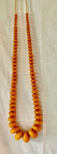 """African Amber Copol Bead Necklace 22"""" Long"""