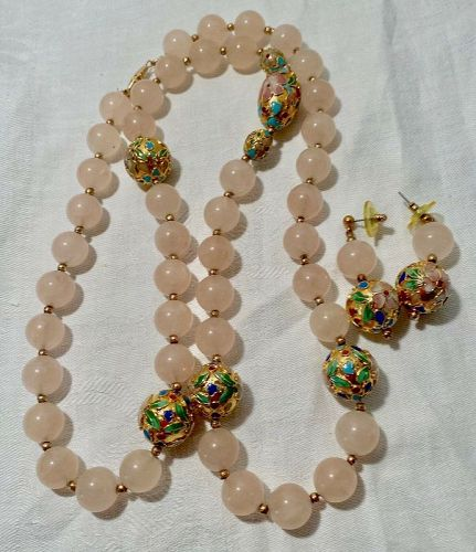 Gilt Cloisonne' & Pink Agate Bead Necklace & Earrings Set