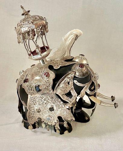 Vintage Ceylon Carved Ebony Wood Jeweled Silver Saddle Kandy Elephant