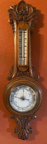 19th Century Aneroid Carved Oak Case Barometer