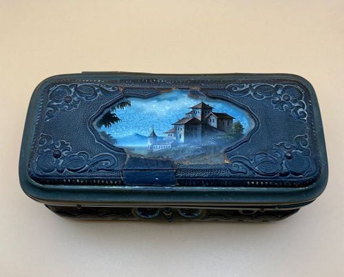 Victorian Tooled Leather Reverse Painted Glass Souvenoir Jewel Box