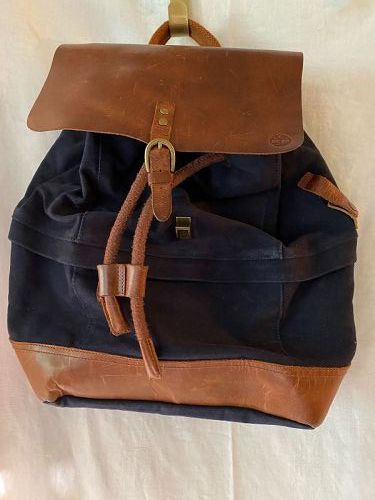 Timberland Navy Canvas & brown Leather Backpack Unisex