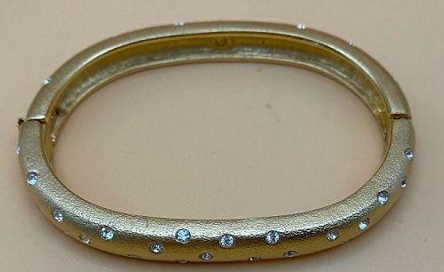 Vintage Swarovski Gold Electroplate Swan Hallmark Bangle Bracelet