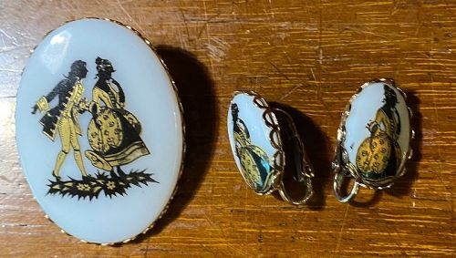 Vintage 1960's Glass with Transfer Pin & Earrings Set