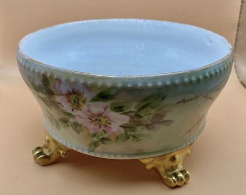 D & C LImoge Floral Footed Bowl