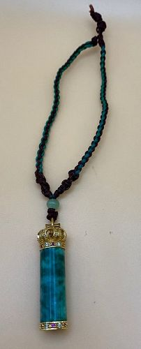 Gold Crown set with Rhine stone and Red Stone Green Malachite Charm