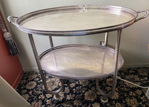 Antique French Silver Plate Gallery Tray Tea Cart