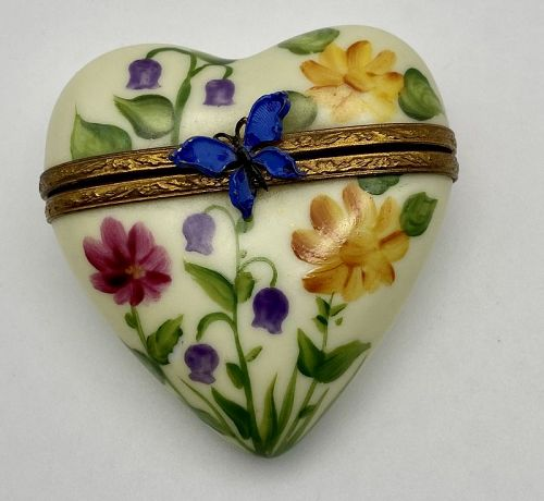 Limoges Heart Inside a Heart Box