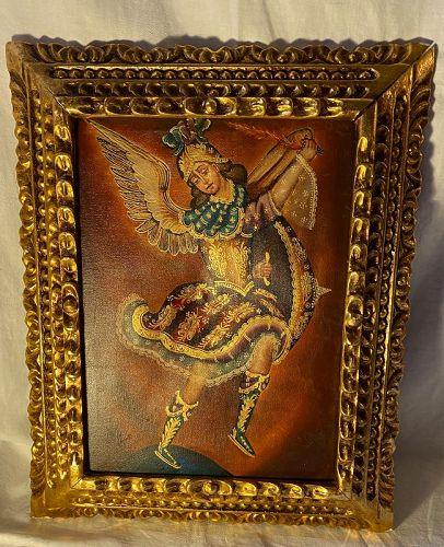 "Cusco Angel Painting Giltwood Frame ""Defensor del Hogar"""