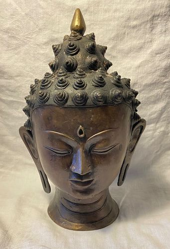 Vintage Bronze Buddha Head
