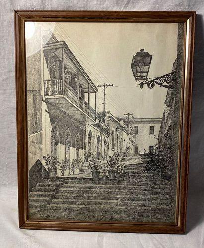 Vintage Engraving, Etching of Old World Neighborhood Scene Signed