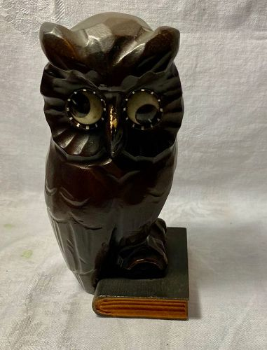 VINTAGE GERMAN SINN (OSWALD) REVOLVING EYES NOVELTY CLOCK - OWL