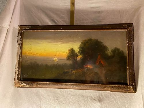 Listed Pastel Artist William Henry Chandler Indian / Teepee Landscape