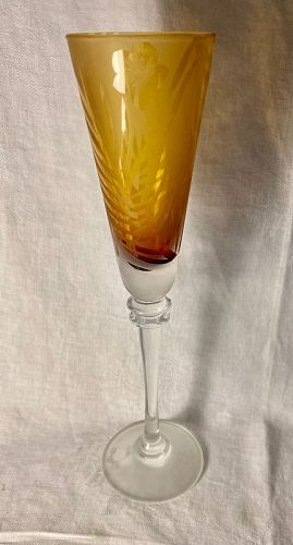 Etched Glass Champagne Glass Flute Michael Weems Tommy Bahama Signed
