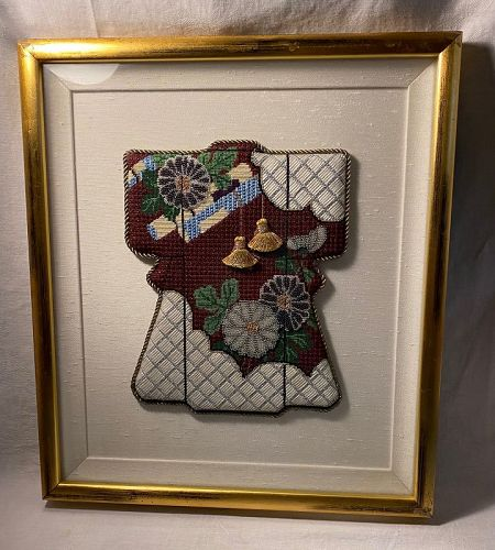 Japan  Quilts Kimono Textile Needlepoint  Linens Shadowbox