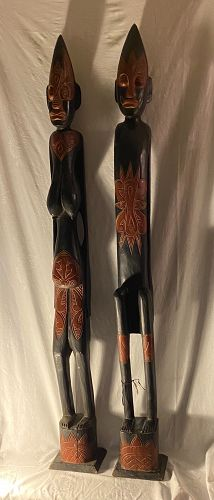"""Oceanic , African 61"""" tall Carved Wood Pair Man & Woman Statues"""