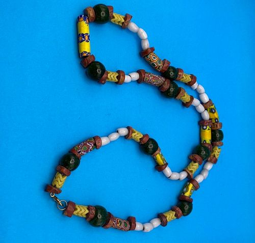 """32.5"""" Long Strand of Vintage African Trade Bead Necklace with Clasp"""