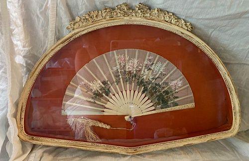 Antique Victorian Ladies Fan in Shadow Box