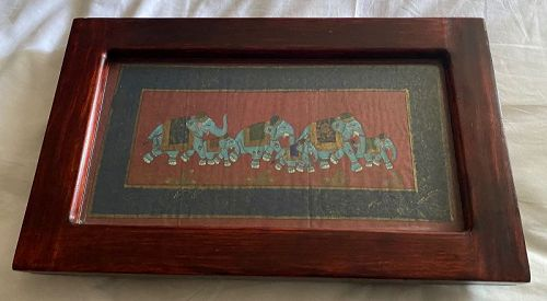 Vintage India Rosewood Tray Altar with Elephant Painting