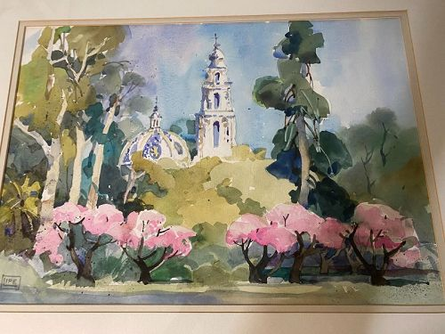 Georgeanna Lipe (1909-2012) California Impressionist Watercolor Painti