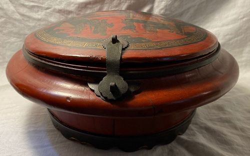 Chinese Red Lacquer Wood Ceremonial Box